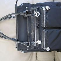 Brighton Baxter Zip Tote Black Microfiber & Croc Leather H52153 Nwt Photo