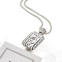 Brighton Bay Antique Silver Berkley Lotus Floral Id Card Badge Holder Necklace  Photo