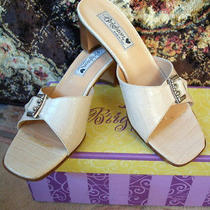 Brighton Beige Stack Heels Pressed Mock Alligator Silver Buckle 8 N Very Nice Photo
