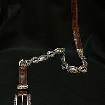 Brighton Belt 48809 Brown Croc and Hinged Silver in Size Medium Photo