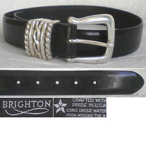 Brighton Belt Black Leather Silver  Women's Small S (27) Mint Photo