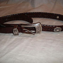 Brighton Belt Brown Braided Leather W/ Silver Hardware  02108 M 30 Women's   Photo