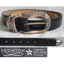 Brighton Belt Brown Croco Embossed Leather Silver Women's Medium M 30 Photo
