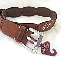 Brighton Belt Brown Embossed & Silver Style  B20649 Sz Small