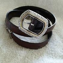 Brighton Belt Gold & Silver Brown Leather Size L 34. Nwot  Photo