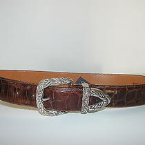 Brighton Belt Sz S Brown Leather Croc Embossed Silver Weave Buckle Real Nice Photo