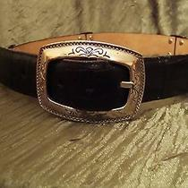 Brighton Belt Two Tone Black and Brown Leather Silver Buckle Western Size Small Photo