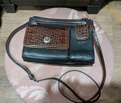 BRIGHTON Black and Brown Croc Embossed Leather Crossbody Organizer Purse Wallet Photo