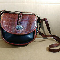 Brighton Black and Brown Moc Croc Leather Organizer Crossbody Adj Strap Purse Photo