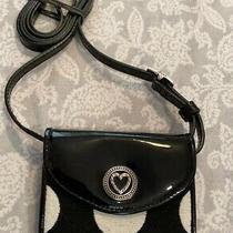 Brighton Black and  White Leather Crossbody Wallet Purse Photo