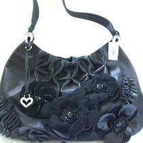 Brighton Black Anthea Leather Flower Hobo Bag 425 Handbag Nwt Photo