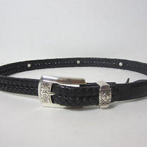 Brighton Black Belt With Silvertone Hardware Size M/30 Photo