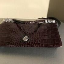 Brighton Black & Brown Croc Embossed Convertible Clutch Crossbody Wallet Handbag Photo