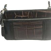 Brighton Black/brown Croc Embossed Leather Shoulder Xbody Bag Convert to Wallet Photo
