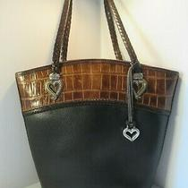 Brighton Black Brown Croc Leather Bucket Shoulder Handbag Satchel Purse Photo