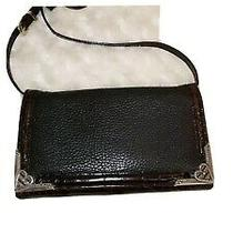 Brighton Black Brown Croc Leather Crossbody Organizer Wallet Clutch  Photo