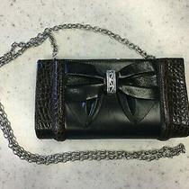 Brighton Black/brown Croc Leather Kisslock Clutch/crossbody Chain Strap  Photo