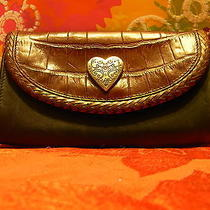 Brighton Black & Brown Croco Leather Clutch With Silver Heart Brighton Taginside Photo