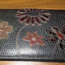Brighton Black Brown Flower Bird Wallet Embroidered Appliques  Photo