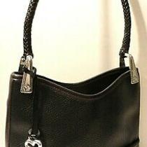 Brighton Black Brown Genuine Leather Tote Shoulder Purse Bag Heart Tag Charm Photo