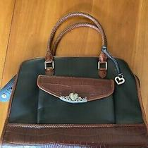 Brighton Black Brown Leather Braided Shoulder Tote Purse Bag Photo