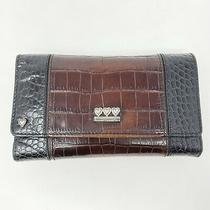 Brighton Black Brown Leather Croco Embossed Clutch Wallet  Check Book Organizer Photo