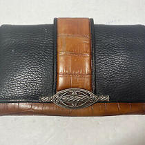 Brighton Black Brown Leather Croco Embossed Clutch Wallet  Check Book Organizer Photo