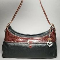 Brighton Black & Brown Leather Pebbled Croc Embossed Shoulder Bag Handbag  Photo
