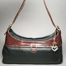 Brighton Black & Brown Leather Pebbled Croc Embossed Shoulder Bag Handbag  Photo
