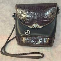 Brighton Black & Brown Leather Purse Tote Silver Plated Hardware Braided Handle Photo