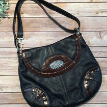 Brighton Black Brown Pebbled Leather Hobo Bag Purse Photo