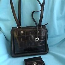 Brighton Black Brwn  Leather Anima Print Card Slots Shoulder  Bag Purse & Wallet Photo