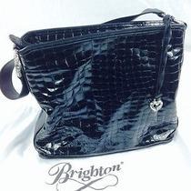 Brighton Black Cher Croco Tote Silver Ring H30783 Photo