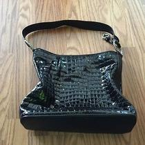 Brighton Black Cher Croco Tote Silver Ring H30783 Photo