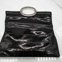 Brighton Black Croc/alligator Embossed Leather Clutch Handbag Medium  Photo
