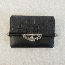 Brighton Black Croc Embossed Leather Wallet Clutch Small Silver Detail Fold Over Photo