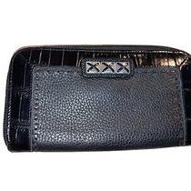 Brighton Black Croc Embossed Patent Leather Zip Around Wallet Clutch Photo