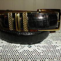 Brighton Black Croc Leather Belt Gold Brighton Hardware Sz Small Euc Look Photo