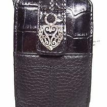Brighton Black Croc & Pebble Leather Cell Case Wristlet Reticulated Heart Photo