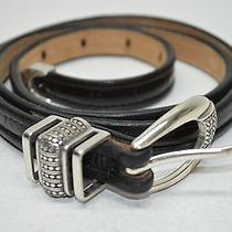 Brighton Black Croco Embossed Leather Skinny South Western Belt Large 33 34 Photo
