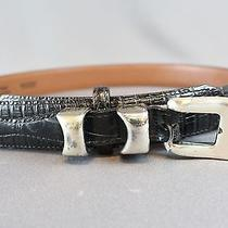 Brighton Black Full Grain Glove Lining Silver Buckle Belt Size M Photo