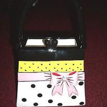 Brighton Black Green Pink Bow White Black Polkadot Ceramic Handbag Floral Vase  Photo