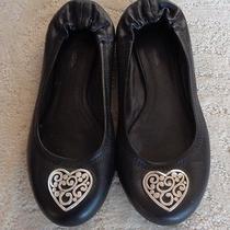 Brighton Black Heart Ballet Flat Silver Heart  Size 7 B Photo