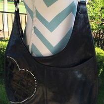 Brighton Black Hip Heart Messenger Hand Bag With Studded Heart