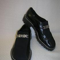 Brighton Black Leather and Microfiber Shoes  6.5b Photo