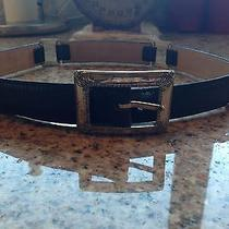 Brighton Black Leather Belt With Sterling Silver Accents - Size Small Photo