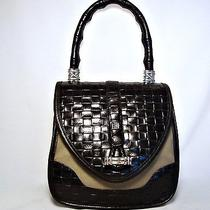 Brighton Black Leather & Canvas Handbag Woven Leather Photo