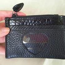 Brighton Black Leather Card Wallet W/heart Peek Pocket Heart Zip Pull Nwot Photo
