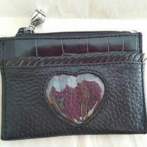 Brighton Black Leather Card Wallet W/heart Peek Pocket Silver Zip Pull Nwot Photo