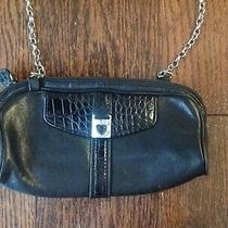 Brighton Black Leather Croc Cross Body Purse & Detachable Chain Strap Photo
